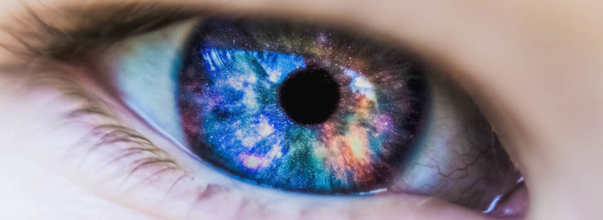 An eye filled with universe